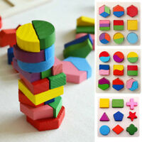 Kids Baby Wooden Geometry Building Blocks Puzzle Early Educational Toy Great