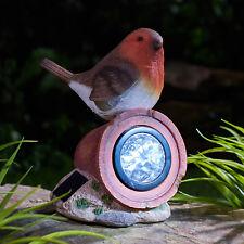 Solar Power Robin on a Plant Pot LED Decorative Garden Bird Rock Light Ornament