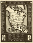 """Vintage North America Map of Native Indian Tribes CANVAS PRINT 24""""X 36"""""""