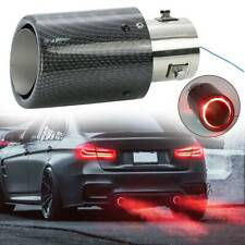 Universal 63mm Exhaust Muffler Tip Tail Pipe Trim Red Luminous Carbon Fiber LED