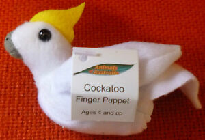 AUSTRALIAN ANIMAL GIFT COCKATOO Soft Material FINGER PUPPET - Pack of 6 Puppets