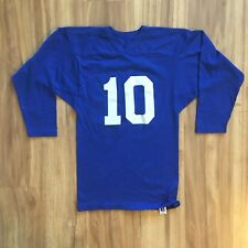 VINTAGE 80s Russell Athletic Blue White Gusseted Blank Football Jersey 10 S