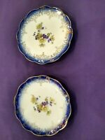 ANTIQUE COBALT BLUE PORCELAIN CHINA BREAD PLATES W/FLOWERS~SCALLOPED EDGE~GOLD