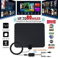 80 Miles Indoor Digital HD TV Antenna with Signal Amplifier Booster HDTV Fox 4K+
