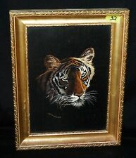 1970s UK/Canada Needlepoint on Silk Textile Art Tiger by Judith Rodker (IsH)#32