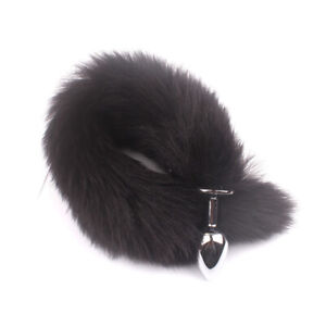 Game Toy Romance Funny False Fox Tail With Women Sexy Stainless Steel Plug