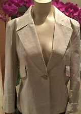 CHANEL 2004 SPRING COLLECTION WHITE LEATHER JACKET, NWT, FR 38