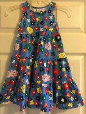Hanna Andersson Blue Floral Dress Girls Size 100 4