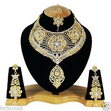 Wedding Jewelry Indian Bridal Gold Plated Zerconic Kundan Big Necklace Set