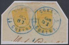 """VENEZUELA 1859-62 Sc 4a YELLOW TWO SINGLES ON PIECE """"CORREOS LA GUAIRA"""" SCV$60++"""