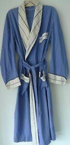 Vintage Turnbull & Asser London Blue & White Cotton Belted Robe Men's Large