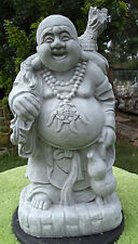 BACK PACK HOTEI LAUGHING BUDDHA GRAY CONCRETE CEMENT STATUE ANTIQUED WHITE