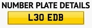 Private number plate L30 EDB. Professionally Valued Proof Of Value