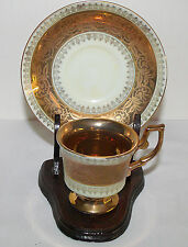 Vintage Demitasse Cup & Saucer with Wooden Stand - Gold Luster - Marked
