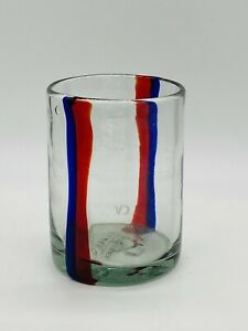 Anthropologie Clare V Recycled Red and Blue Stripe Juice Glass Tumbler