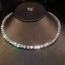 """8.0 Carat Unisex 16"""" Tennis Chain & Stud Round Cut Diamond In 14K White Gold"""