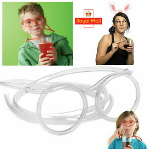 Straw Glasses Fun Drinking Straws Re-Useable Games Gift Crazy Drink Child Party