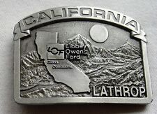 Vintage Belt Buckle Lathrop California Libby Owens Ford Glass Pacific Brass