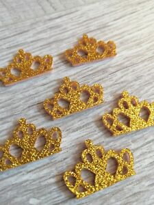 6 x Gold Glitter Crown Embellishments Crafts, Hair Bow, Card
