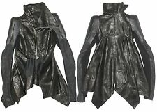 RICK OWENS Black Asymmetric Leather Robot Structured Shoulder Jacket US 4  IT 38