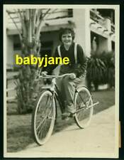 NANCY CARROLL VINTAGE 6X8 PHOTO 1934 CANDID RIDING BICYCLE IN PALM SPRINGS, CA