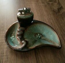 "Vintage Ceramic Lighter & Ash Tray ""Tropicana"" Set  RARE! 50's"