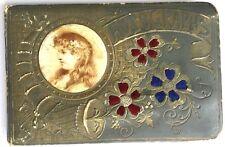 ANTIQUE 1888 VICTORIAN EPHEMERA AUTOGRAPH ALBUM SCRAP BOOK FABRIC FLOWERS COVER