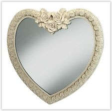 Heart Shape Wall Mirror Ornate French Engrved Rose Frame Design 88x84cm Cream