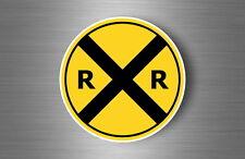 Autocollant sticker laptop macbook panneau route attention train locomotive gare