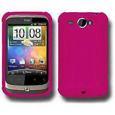 AMZER Silicone Soft Skin Jelly Back Case Cover for HTC Wildfire - Hot Pink