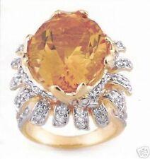 15.75ctw Genuine Diamond & Citrine Ring 14K Gold