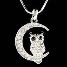 w Swarovski Crystal ~Owl on Moon~ Hoot Bird Halloween Charm Pendant Necklace NEW