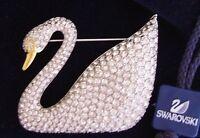 Signed Swan Rhodium Swarovski Pave SWAN Brooch Pin