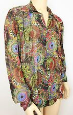 Mens Vintage 70s Style Prince Crazy Dagger Collar Psychedelic Festival Shirt L