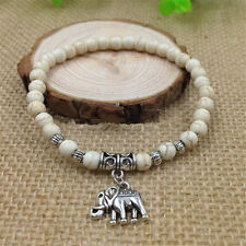 Fashion Natural White Turquoise Beads 6mm Tibet Silver Elephant Charm Bracelet