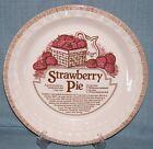 Vtg Jeannette Royal China-Deep Dish STRAWBERRY Pie Plate/ Baker w/Recipe GVUC #4