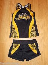 JAGS Girls YOUTH S/M Dance Uniform Top & Shorts - Spandex Black & Yellow Gold