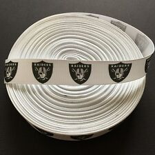 "7/8"" Oakland Raiders Grosgrain Ribbon by the Yard (Usa Seller!)"