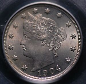 "1904 LIBERTY ""v"" NICKEL PCGS MS 64 MARK FREE  SILVER SATIN PEWTER & NICE LUSTER"
