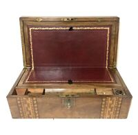 Antique Victorian Tunbridge Ware Writing Slope Box with Key & Secret Drawers