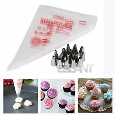 100x Desechables Bolsas + 15 Boquilla Para Reposteria Pastel Cupcake Decoración