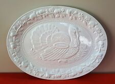 "SANOR CERAMICA 19"" OVAL PLATTER  WHITE FRUITS TURKEY THANKSGIVING PORTUGAL SRX1"