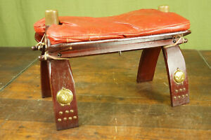 60er Vintage Hocker Sitzhocker Kamelhocker Pouf Leder Ottomane Fußhocker