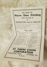 Vintage Horse Shoe Pitching Instruction Manual St. Pierre Chain Corporation