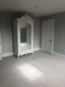 French Style Armoire Wardrobe   Single Mirror Door   Antique French White