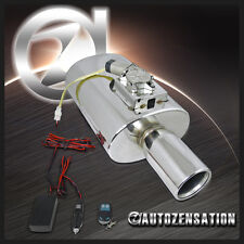 """Electric Remote Sound Control Inlet 3"""" Outlet 4"""" Tip Exhaust Muffler Silencer"""