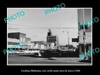 OLD LARGE HISTORIC PHOTO OF CUSHING OKLAHOMA, THE MAIN STREET & STORES c1960