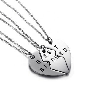 Necklace Chic Best Bitches 3 Piece Break Heart Pendant BFF Same Day Post