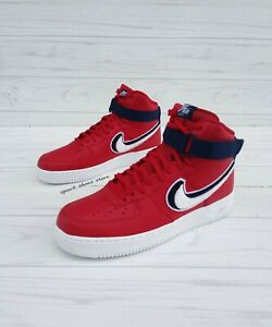 SIZE 9.5 MEN'S NIKE AIR FORCE ONE AF1 HIGH RED / NAVY SNEAKERS
