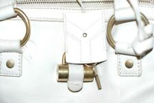 Yves Saint Laurent Vintage White Leather Bag, gold hardware, with key and fob